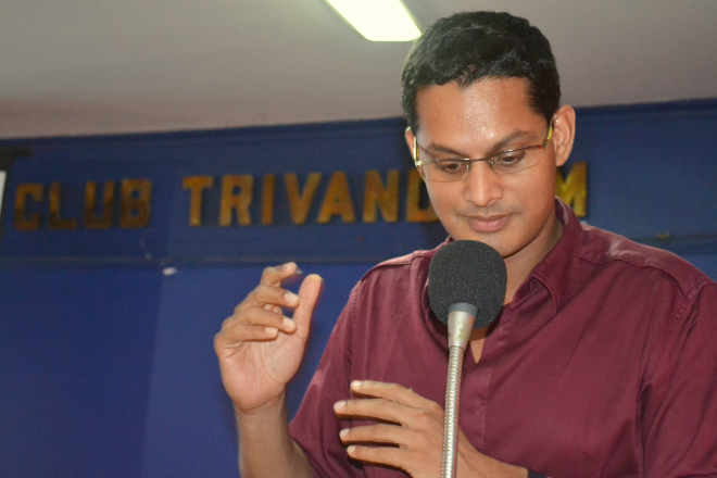 Photo of Shamnad speaking at an event in Trivandrum, Kerala
