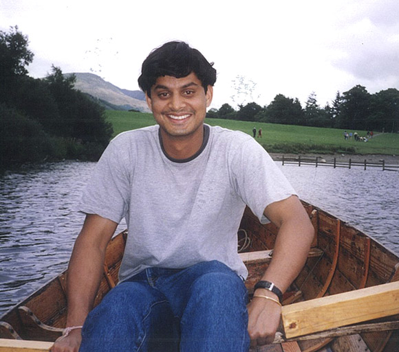 Photo of Shamnad enjoying a boat ride during his Oxford days